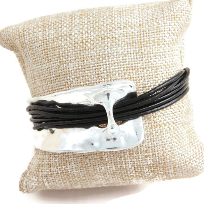Bracelets Strings woven through Metal