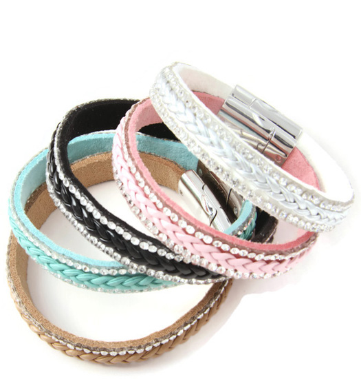 Bracelet Colored braide and strass