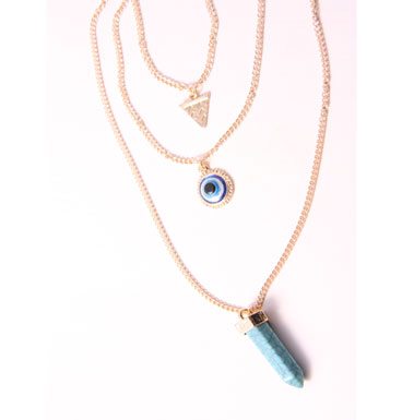 Double Necklace Lucky Eye and TQ pendants