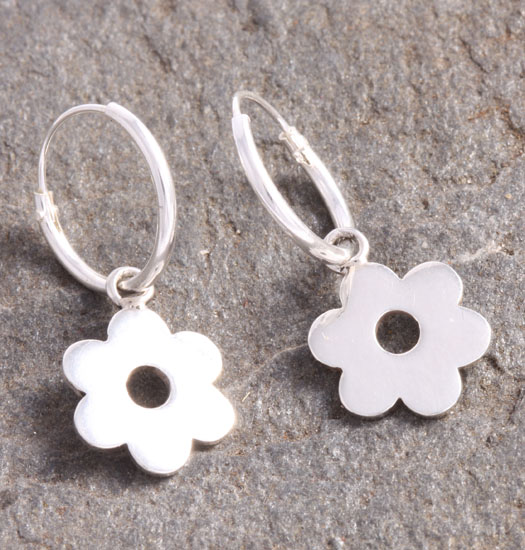 Silver Luck Charm Earring Flower