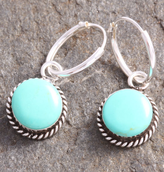 Silver Luck Charm Earring Turquoise