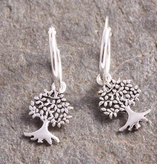 Silver Luck Charm Earring Tree of Life 2