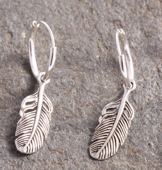 Silver Luck Charm Earring Feather