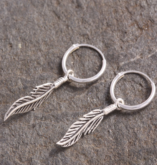 Silver Luck Charm Earring Feather 2