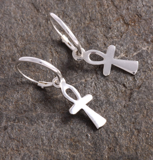 Silver Luck Charm Earring Ankh